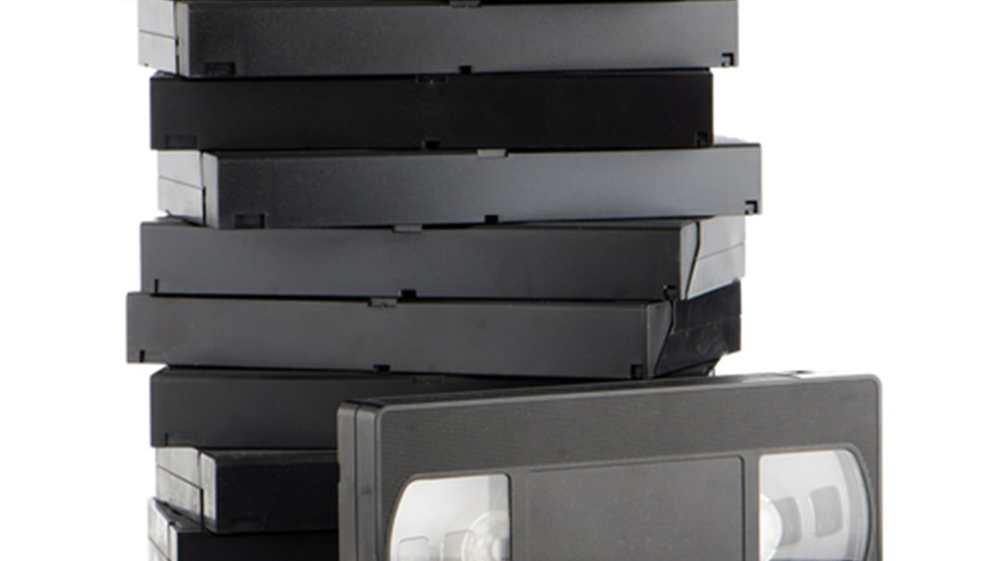 VHS video cassettes stacked