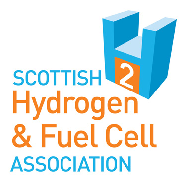 Scottish Hydrogen and Fuel Cell Association logo; blue and orange logo